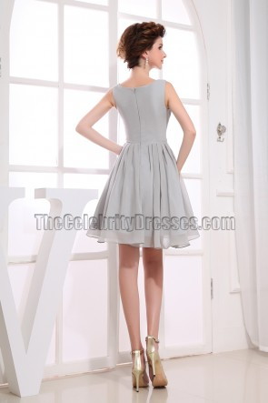 Gorgeous Silver Chiffon A-Line Cocktail Dress Party Dresses