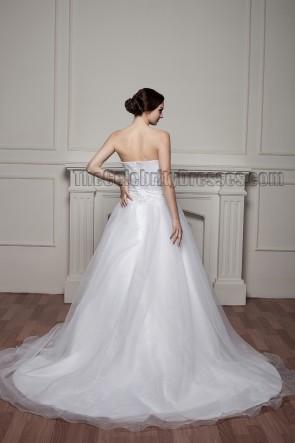 Gorgeous Strapless A-Line Organza Beaded Chapel Train Wedding Dresses