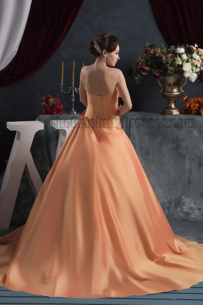 Gorgeous Strapless A-Line Taffeta Chapel Train Wedding Dress