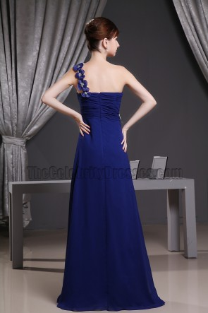 Sweetheart One Shoulder Long Prom Dress Evening Gown With Flowers