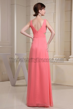 Watermelon Cut Out Silver Sequined Prom Dress Evening Gown
