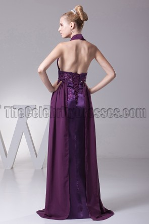 Sexy Grape Halter Backless Prom Gown Evening Dresses