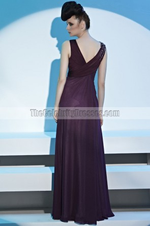 Grape V-Neck Beaded Formal Dress Evening Prom Gown