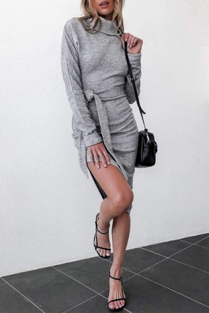 Gray Lace-up Slit Dress