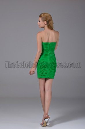 Short Green Strapless Sweetheart Party Graduationg Dresses