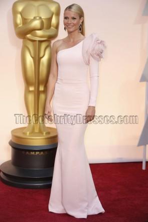 Gwyneth Paltrow 2015 Oscars Light Pink One Sleeve Red Carpet Dress