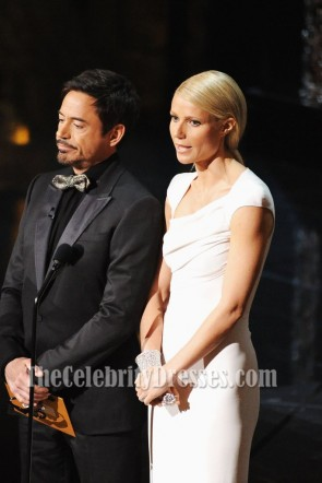 Gwyneth Paltrow White Caped Shorty Sleeves Sheath Evening Dress Oscars 2012 TCD7476