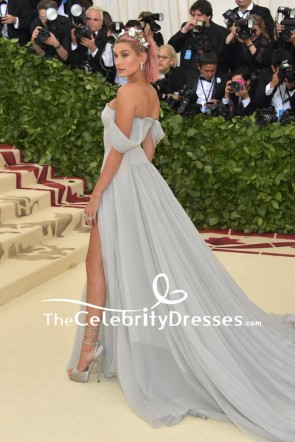 Hailey Baldwin Off-the-shoulder Thigh-high Slit Evening Dress 2018 Met Gala Red Carpet TCD7863