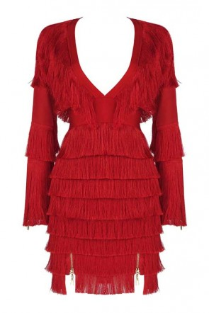 Hailey Baldwin White V-neck Tassel Bodycon Dress
