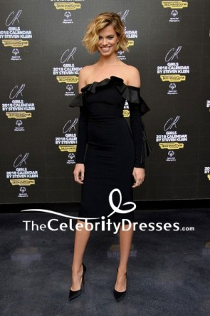 Hailey Clauson Black Fitted Off-the-shoulder Cocktail Dress CR Girls 2018 Calendar Launch