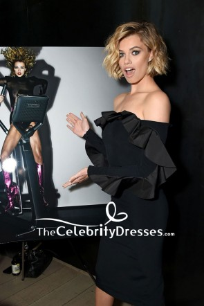 Hailey Clauson Black Fitted Off-the-shoulder Cocktail Dress With Sleeves CR Girls 2018 Calendar Launch TCD7621