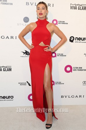 Hailey Baldwin 2016 Oscar Viewing Party Red Evening Dress High Slit Formal Dress 1