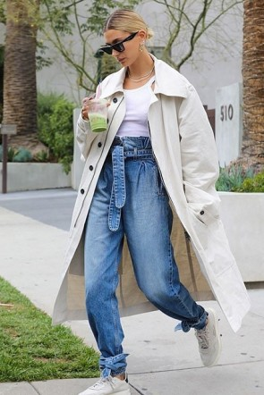 Hailey Baldwin Buttoned Long Trench Coat