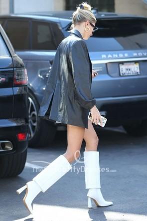 Hailey Baldwin Oversized Leather PU Blazer