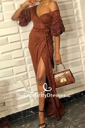 Half Sleeves One-shoulder Ruffled Slit Prom Dress