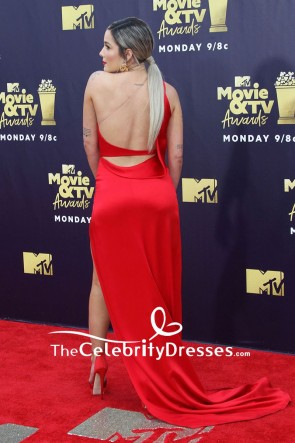 Halsey Red Cut Out Formal Evening Dress 2018 MTV Movie & TV Award TCD7902