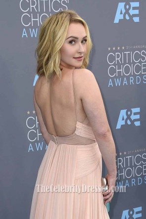 Hayden Panettiere Cut Out V-neck Evening Dress at Critics' Choice Award after treatment for PPD TCD6722
