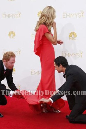 Heidi Klum Watermelon Formal Dresses 2014 Emmy Awards Red Carpet