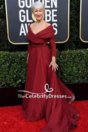 Helen Mirren Burgundy Off Shoulder Ball Gown 2020 Golden Globes TCD8816