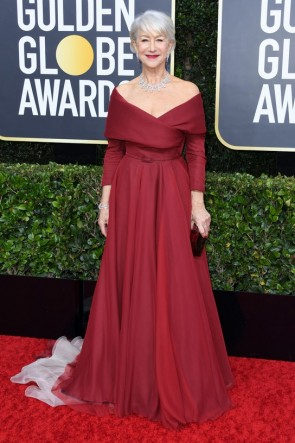 Helen Mirren Burgundy Off Shoulder Ball Gown 2020 Golden Globes