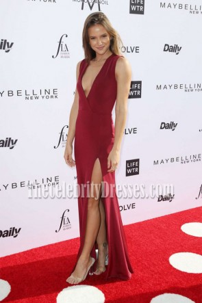 Helen Owen Burgundy Deep V-Neck High Slit Evening Dress the Daily Front Row's Fashion Los Angeles Awards TCD7199