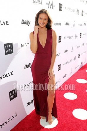 Helen Owen Burgundy Deep V Neckline High Slit Evening Dress the Daily Front Row's 3rd Annual Fashion Los Angeles Awards