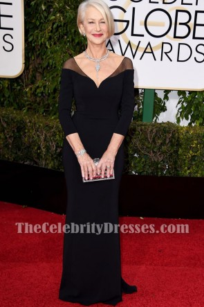 Helen Mirren 2016 Golden Globes Red Carpet Black Evening Dress V-neck Prom Gown