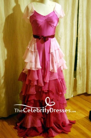 Hermione Granger Yule Ball Pink Ruffled V-neck Evening Dress Harry Potter