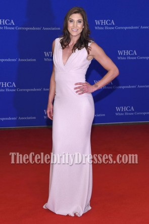 Hope Solo White Deep V-neck Evening Dress White House Correspondents' Association Dinner  3