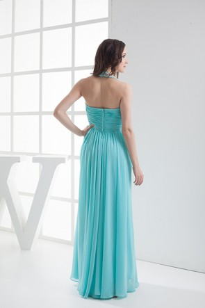Ice Blue Chiffon Halter Prom Evening Bridesmaid Dresses