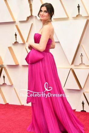 Idina Menzel Fuchsia Strapless Evening Dress 2020 Oscars Red Carpet TCD8849