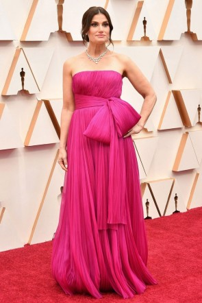 Idina Menzel Fuchsia Strapless Evening Dress 2020 Oscars Red Carpet