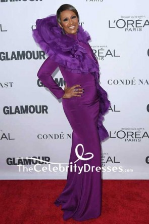 Iman Purple Mermaid Evening Prom Dress With Long Sleeves 2017 Glamour Women of the Year Awards Red Carpet TCD7586