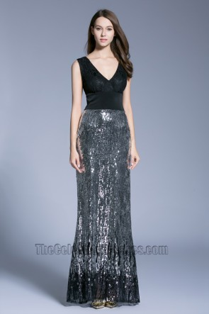 New Style Black Long V-neck Prom Dress sleeveless sequined evening dress 6