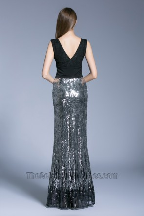 New Style Black Long V-neck Prom Dress sleeveless sequined evening dress TCDBF5008