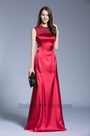 New Long Red Evening Dress Wedding See Through Back Prom Gown 3