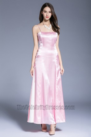 New Fashion Pink Evening Dress Party Graduation Sleeveless Ball Gown  1