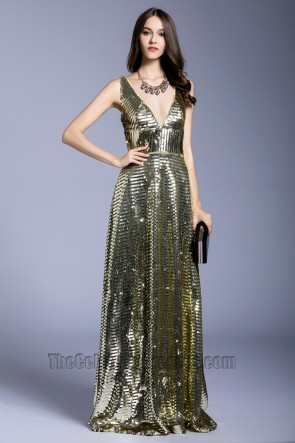 Fashion Elegant  Long Prom Dress Sequins Party V-neck Evening Dress 1