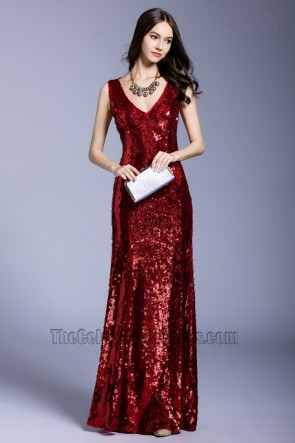 Women's New Sequins Evening Dress V-neck Party Club Ball Gown 1