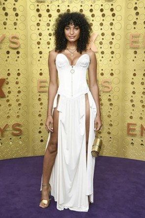 Indya Moore White Strapless Corset Dress 2019 Emmys Awards