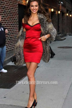 Irina Shayk Red Dress 2011 Late Show Sexy Off-the-shoulder Party Dress