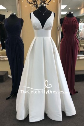 Ivory Floor Deep V-neck Wedding Ball Gown