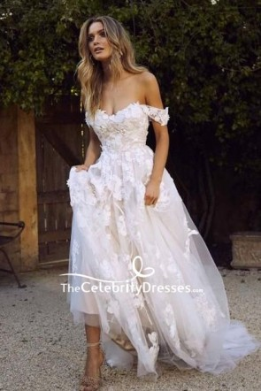 Ivory Off-the-shoulder Applique Wedding Prom Dress