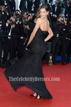 Izabel Goulart Black Evening Prom Dress Cannes Film Festival Red Carpet Gown