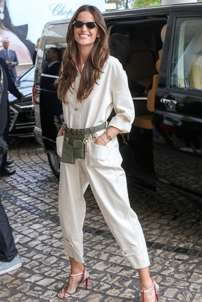 Izabel Goulart White Pockets Jumpsuit Martinez Hotel