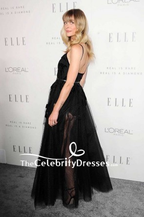 Jaime King Black Sheer Tulle Beaded Evening Dress lle's Women in Hollywood Celebration TCD7558