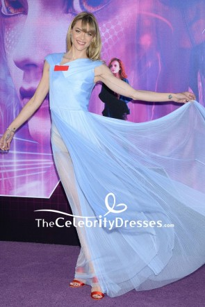 Jaime King Sky Blue Sheer See-through Evening Formal Dress  Premiere of Ready Player One TCD7827