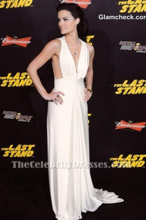Jaimie Alexander's Deep V-neck Evening Dress White Prom Formal Gown TCD6721