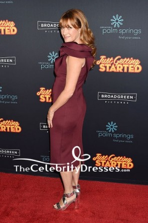 Jane Seymour Plum One-shoulder Cocktail Dress  Premiere of Just Getting Started TCD7624