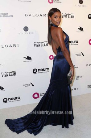 Jasmine Tookes 24th Annual Elton John AIDS Foundation's Oscar Viewing Party Nave Blue Halter Formal Mermaid Dress TCD6708